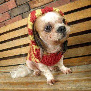 犬のセーター【Bon Bon フードセーター_マスタード】手編みセーター/犬のニット/ペットセーター/犬服/犬の洋服|wanwan3dogs