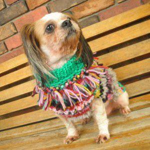 送料無料♪犬のセーター【フリンジ_ネイティブセーター】手編みセーター/犬のニット/ペットセーター/犬服/犬の洋服|wanwan3dogs