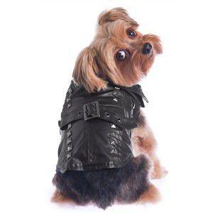 【ぺちゃ掲載】犬のレザーコート【Studded Pleather コート】ペットのコート/犬のレザージャケット/ロックグッズ/スタッズ/犬服/犬の洋服|wanwan3dogs