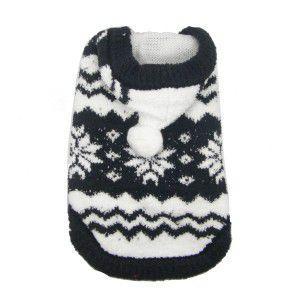 犬のセーター【Super Soft Black Snowflake】クリスマス/雪柄/犬のニット/ペットセーター/犬服/ヒップドギー|wanwan3dogs