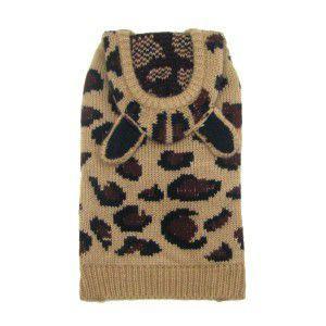 犬のセーター【Worthy Dog Leopard】ヒョウ柄/耳付き/犬のニット/ペットセーター/犬服|wanwan3dogs