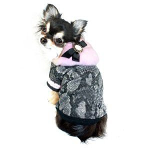 犬のセーター【Pink Boa Hooded Snake】ヘビ柄|wanwan3dogs