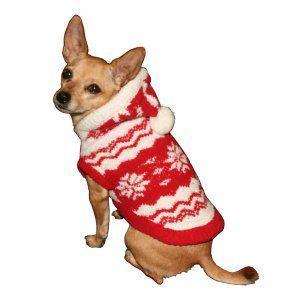 犬のセーター【Super Soft Red Snowflake】クリスマス/雪柄/犬のニット/ペットセーター/犬服/ヒップドギー|wanwan3dogs