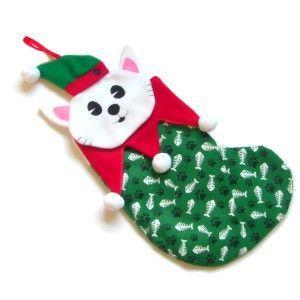 クリスマスプレゼント用小物入れ【猫の長靴】クリスマス/ソックス/イヴ/冬/サンタ wanwan3dogs