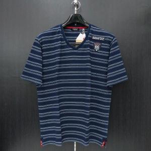 バラシ Vネック半袖Tシャツ インディゴ 50サイズ 1250-2578-53 barassi|wanwan