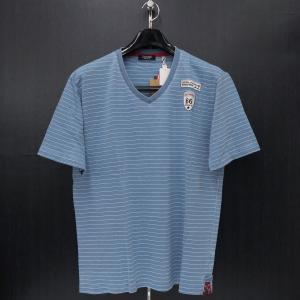 バラシ Vネック半袖Tシャツ ブルー 50サイズ 1250-2578-55 barassi|wanwan
