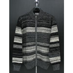 ジーゲラン フルジップセーター 黒/白/グレー L 2110-3407-21-48 GEE GELLAN|wanwan