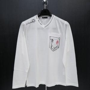 カステルバジャック Vネック長袖Tシャツ 白 48-50サイズ 21270-135-01 castelbajac|wanwan