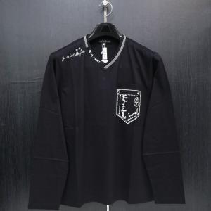 カステルバジャック Vネック長袖Tシャツ 黒 48-50サイズ 21270-135-99 castelbajac|wanwan