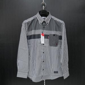 カプリ 長袖ボタンダウンシャツ グレー/白 2131-1021-21 CAPRI|wanwan