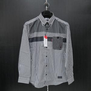 カプリ 長袖ボタンダウンシャツ グレー/白 2131-1021-21-52 CAPRI|wanwan