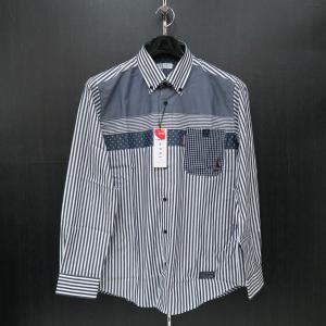 カプリ 長袖ボタンダウンシャツ 紺/白 2131-1021-51 CAPRI|wanwan