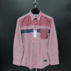 カプリ 長袖ボタンダウンシャツ 赤/白 2131-1021-61 CAPRI|wanwan