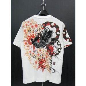 絡繰魂 カラクリタマシイ 鯉刺繍 半袖Tシャツ 白 222100-10|wanwan