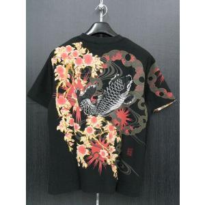 絡繰魂 カラクリタマシイ 鯉刺繍 半袖Tシャツ 黒 222100-20|wanwan
