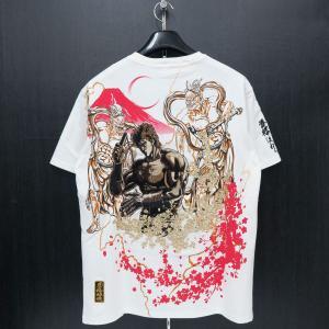 絡繰魂 粋 ケンシロウ刺繍 半袖Tシャツ 白 282010-10 北斗の拳コラボ カラクリ|wanwan