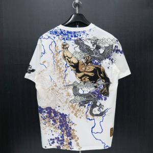 絡繰魂 粋 ラオウ刺繍 半袖Tシャツ 白 282011-10 北斗の拳コラボ カラクリ wanwan