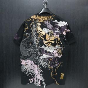 絡繰魂 粋 ラオウ刺繍 半袖Tシャツ 黒 282011-20 北斗の拳コラボ カラクリ wanwan