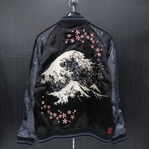 絡繰魂 粋 富士山波刺繍スカジャン 黒 283013-20 カラクリ|wanwan