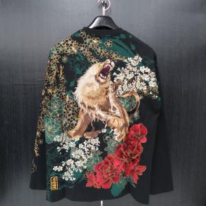 絡繰魂 粋 ライオン刺繍長袖Tシャツ 黒/金 XLサイズ 284022-20 カラクリ|wanwan