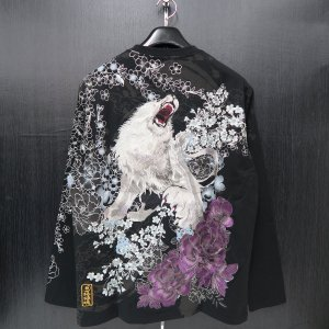 絡繰魂 粋 ライオン刺繍長袖Tシャツ 黒/銀 XLサイズ 284022-25 カラクリ|wanwan
