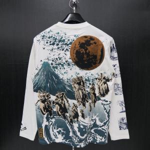 絡繰魂 粋 雑魚キャラ刺繍 長袖Tシャツ L/XL/XXL 白 284040-10 北斗の拳コラボ カラクリ|wanwan