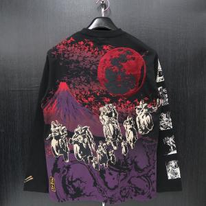 絡繰魂 粋 雑魚キャラ刺繍 長袖Tシャツ L/XL/XXL 黒 284040-20 北斗の拳コラボ カラクリ|wanwan