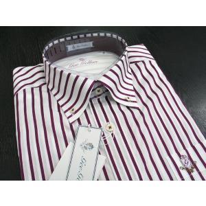 ゲラン 半袖ボタンダウンシャツ エンジっぽい紫 4210-1501-62 GEE GELLAN|wanwan
