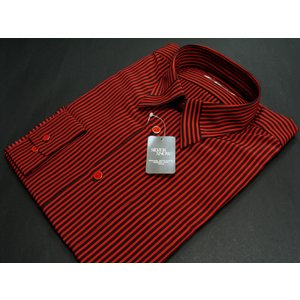 丸恵 レギュラーカラードレスシャツ  赤/黒 4612-2|wanwan