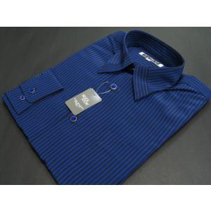 丸恵 レギュラーカラードレスシャツ  青/黒 4612-3|wanwan