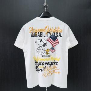 フラッグスタッフ スヌーピー刺繍半袖Tシャツ 白 482321-10 FLAGSTAFF SNOOPY|wanwan