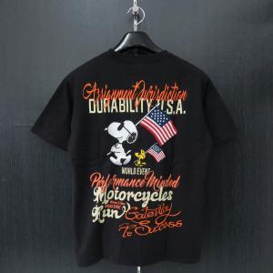 フラッグスタッフ スヌーピー刺繍半袖Tシャツ 黒 482321-20 FLAGSTAFF SNOOPY|wanwan