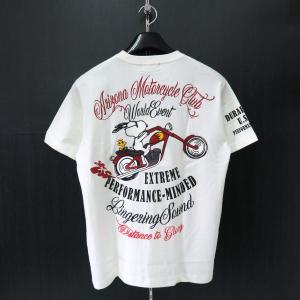 フラッグスタッフ スヌーピー刺繍半袖Tシャツ 白 482322-10 FLAGSTAFF SNOOPY|wanwan