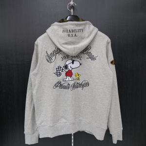 フラッグスタッフ スヌーピー刺繍ジップアップパーカー M/L/XL/XXLサイズ グレー 483005-120 FLAGSTAFF SNOOPY|wanwan