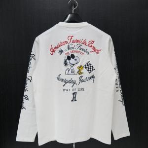 フラッグスタッフ スヌーピー刺繍長袖Tシャツ M/L/XL/XXLサイズ 白 483007-10 FLAGSTAFF SNOOPY|wanwan