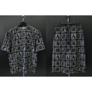 ハーディーエミス モノグラムロゴパイル半袖Tシャツ上下セット 黒 510-8608-074 HardyAmies|wanwan