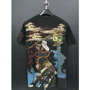 楽土 半袖ヘンリーネックTシャツ 黒 54823-15 Rad Swinger|wanwan