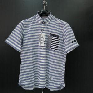 アルコット ヒル 半袖ボタンダウンシャツ 青/白 61-2103-10-47 Alcott hill|wanwan