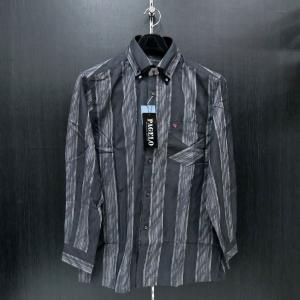 パジェロ 長袖ボタンダウンシャツ 黒/グレー 75-1160-07-39 PAGELO|wanwan