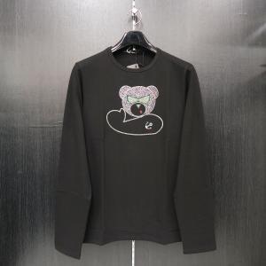 ウザリス ラインストーン長袖Tシャツ 黒 3L/4Lサイズ 75-1517-60-05 USUALIS|wanwan