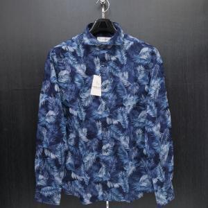 サンタフェ シダの葉柄長袖シャツ 紺 50サイズ 85403-099 santaFe|wanwan