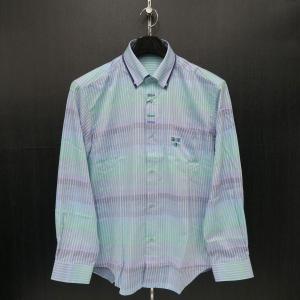 パジェロ 長袖ボタンダウンシャツ 白/緑/青  L/LL 91-1115-07-43 PAGELO|wanwan
