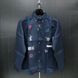 パジェロ 長袖ボタンダウンシャツ 紺 L/LL 91-1126-07-49 PAGELO|wanwan