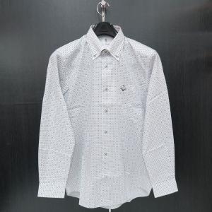 ゲラン 長袖ボタンダウンシャツ 白/黒 9110-1003-21 GEE GELLAN|wanwan