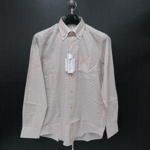 ゲラン 長袖ボタンダウンシャツ 白/オレンジ 9110-1003-71 GEE GELLAN|wanwan
