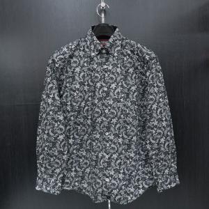 バラシ 長袖ボタンダウンシャツ 黒/白 9150-1008-21 barassi|wanwan