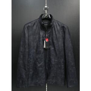 バラシ 本革ブルゾン 紺黒迷彩柄 9150-3086-51 barassi 50サイズ|wanwan