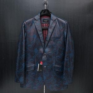 バラシ 本革ジャケット 紺ペイズリー柄 48サイズ 9150-6082-51 barassi|wanwan