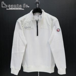 サンタフェ カノコWフェイスハーフジップトレーナー 白 50サイズ 95409-001 santafe wanwan