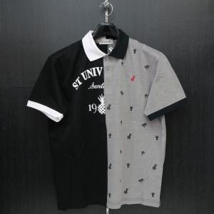サンタフェ 半袖ポロシャツ 黒/グレー 52サイズ 95823-019 santafe|wanwan